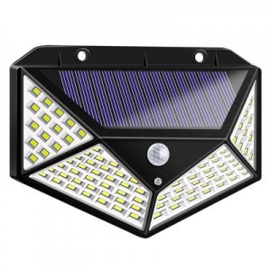 100LED solar wall light four-sided luminous solar light human body induction outdoor lighting garden light
