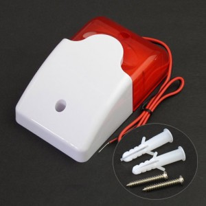 12V Mini Wired Red Strobe Light Siren