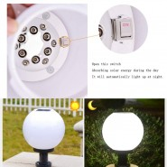 Solar Energy Ball Round Exterior Outdoor Post Lantern Waterproof LED Column Lamp