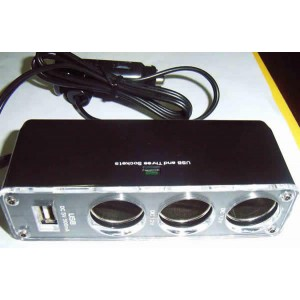 Triple Socket 12V/24V Car Cigarette Lighter plus USB