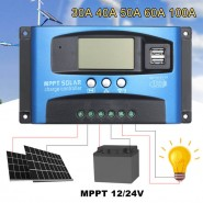 30A 12V 24V Auto Solar Charge Controller MPPT Controllers LCD Dual USB 5V Output Solar Panel Cell PV Regulator