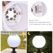 Solar Energy Ball Round Exterior Outdoor Post Lantern Waterproof LED Column Lamp