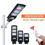 All in One Solar LED Street Light 30W/60W/90W LED Solar Light PIR Motion Sensor Timing Lamp+ Remote Control